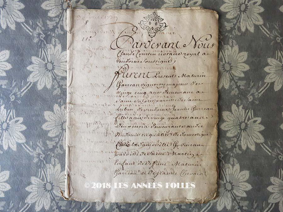 1739年 アンティーク 古文書 24ページ :LES ANNEES FOLLES